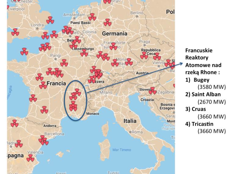 """Mapa 1: Francuskie reaktory atomowe nad rzeką Rhone, które mogą """"odczuć"""" wysokie temperatury  Źródło: Nuclear Transparency Watch oraz analiza własna na potrzeby artykułu"""