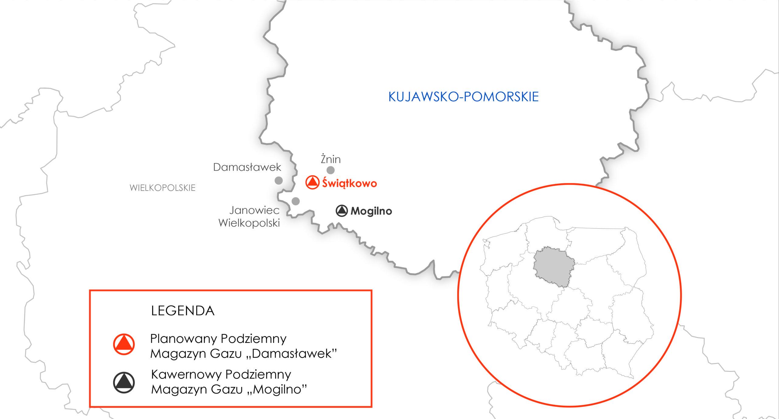 Lokalizacja magazynu gazu Damasławek. Grafika: Gaz-System