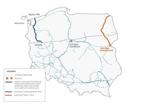 Mapa Gaz – System, tłocznie gazu. Fot.: Gaz – System