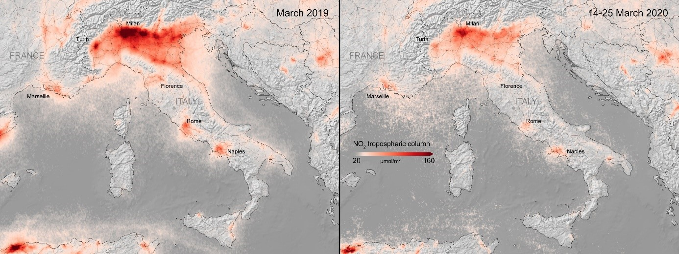 Rysunek 1 Porównanie stężenia NOx - ów w powietrzu nad północnymi Włochami; źródło: esa.int