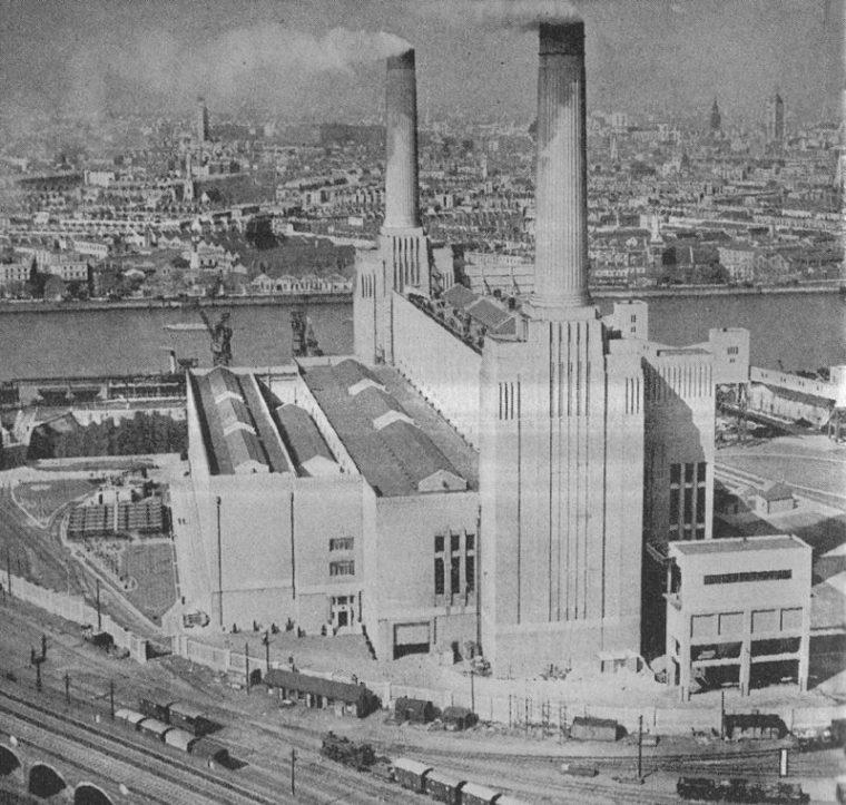 Część A Elektrowni Battersea, zdjęcie z 1934 roku. Źródło: Wikipedia
