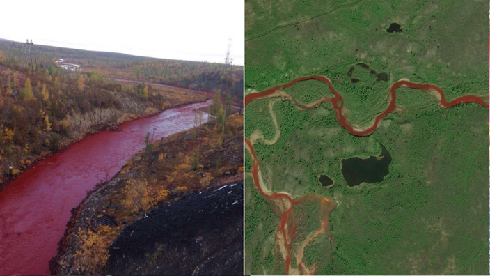 Zanieczyszczona rzeka Daldyakan
