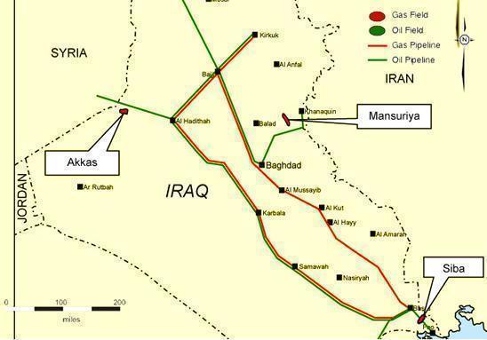 Pola gazowe i naftowe w Iraku rys.RussianInsight
