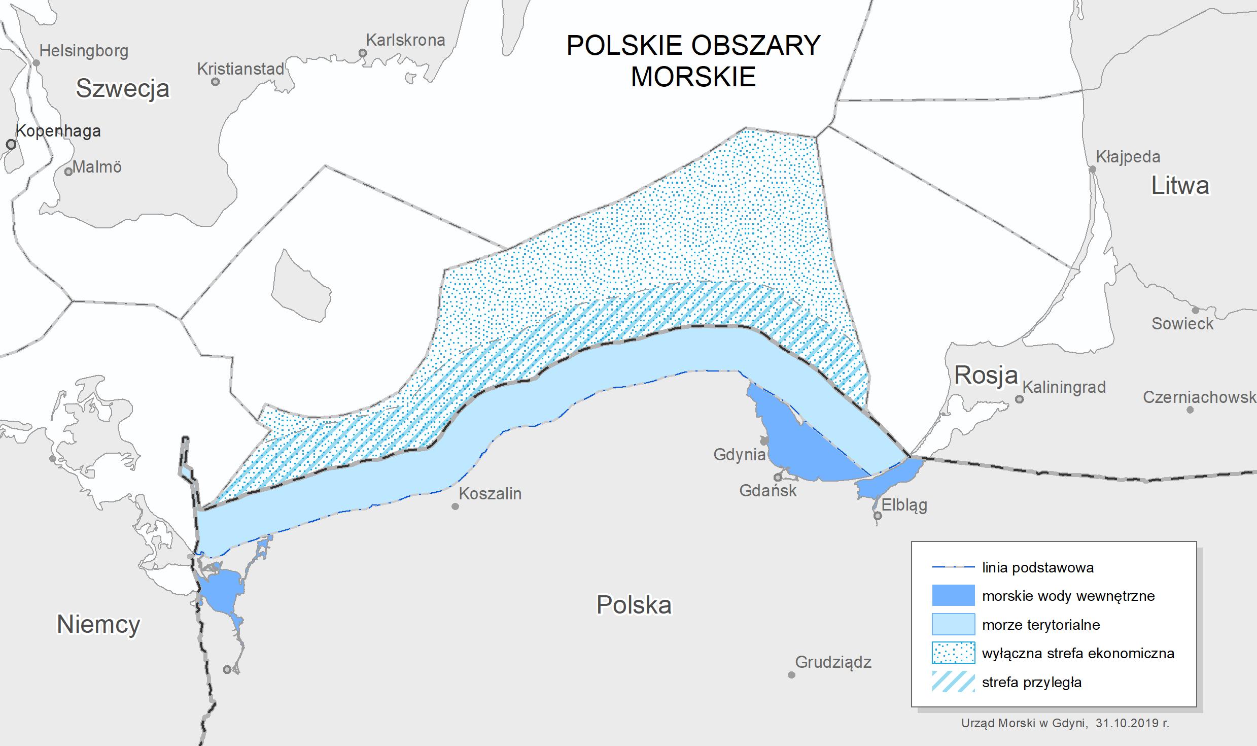 Polskie obszary morskie fot. Urząd Morski w Gdyni