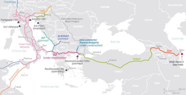 Mapa: Przebieg rurociągu transanatolijskim, z wyszczególnionym odcinkiem TAP(*mapa opisuje TAP w dalszym ciągu jako podczas konstrukcji)  Źródło: pipelinesnews.com