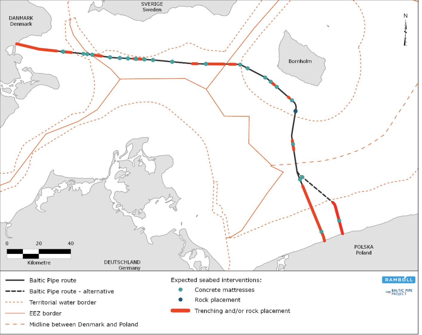 Niebieskie punkty na trasie Baltic Pipe oznaczają instalację materacy, czerwone linie oznaczają konieczność wkopania rurociągu, bądź zwałowania materiału skalnego.