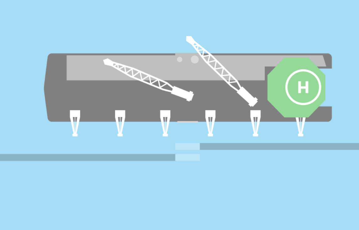 Pozycjonowanie barki nad końcówkami dwóch części rurociągu, fot. NS2 AG