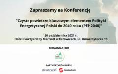 Konferencja ,,Czyste powietrze kluczowym elementem PEP2040''. Grafika organizatora.